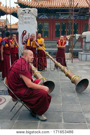 Hohhot, Inner Mongolia - Jule 12: Monks Are Preparing For The Annual Holiday Presentation At The Daz
