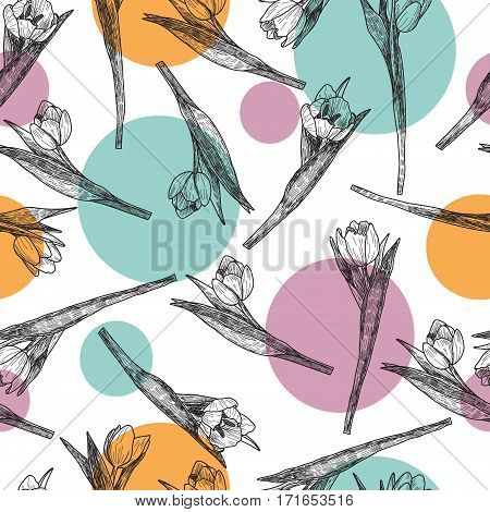 Vector Spring flowers. Flower tulip. Floral seamless pattern. Vintage background with Hand Drawn Tulips. Ink pen drawing