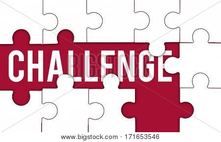 Challenge Competition word puzzle pieces