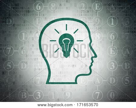 Data concept: Painted green Head With Lightbulb icon on Digital Data Paper background with Scheme Of Hexadecimal Code