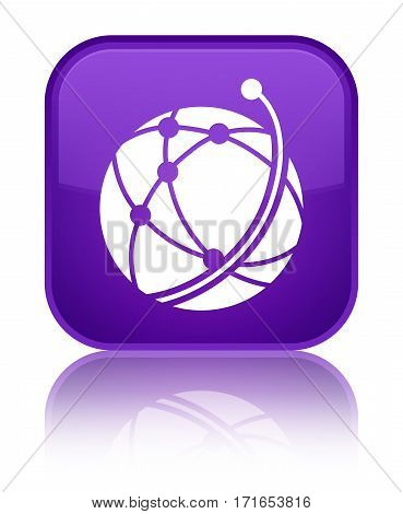 Global Network Icon Shiny Purple Square Button