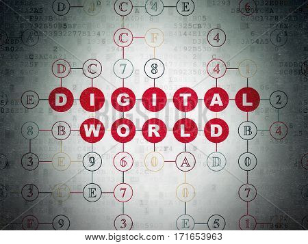 Data concept: Painted red text Digital World on Digital Data Paper background with Hexadecimal Code