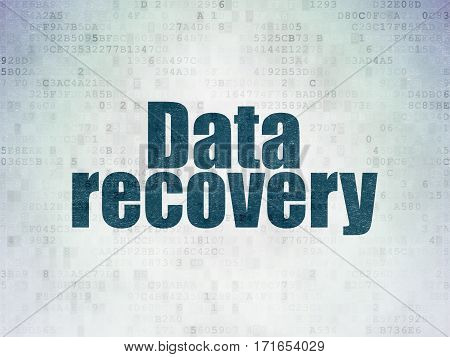 Information concept: Painted blue word Data Recovery on Digital Data Paper background