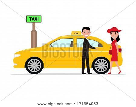 Vector illustration of cartoon man taxi driver helps passenger woman to open the door. Isolated white background. Boy the girl opens the car door. Concept transport of people. Flat style, side view.
