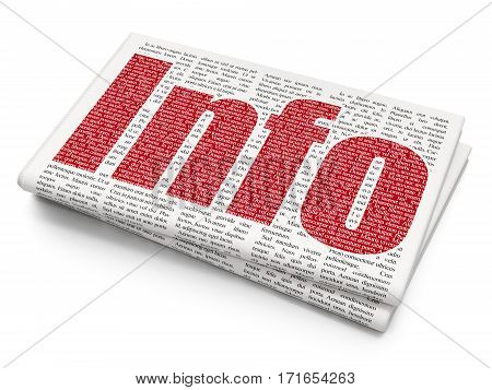 Information concept: Pixelated red text Info on Newspaper background, 3D rendering