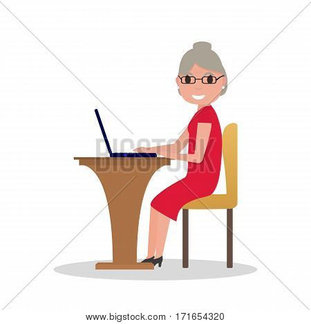 Vector illustration cartoon old woman sitting at desk with a laptop. Isolated white background. Grandmother works at laptop. Elderly female in glasses sitting behind a computer. Flat style, side view.