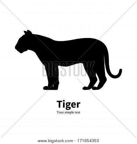 Vector illustration of black silhouette of a tiger. Isolated white background. Icon logo tiger side view, profile.