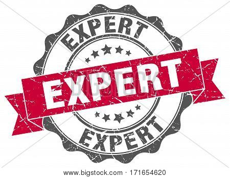 expert. stamp. sign. seal. round. retro. ribbon