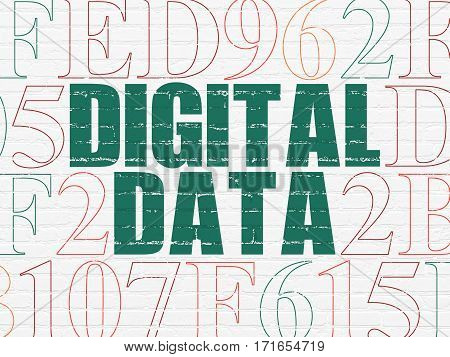 Information concept: Painted green text Digital Data on White Brick wall background with Hexadecimal Code