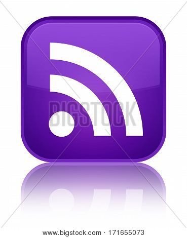 Rss Icon Shiny Purple Square Button