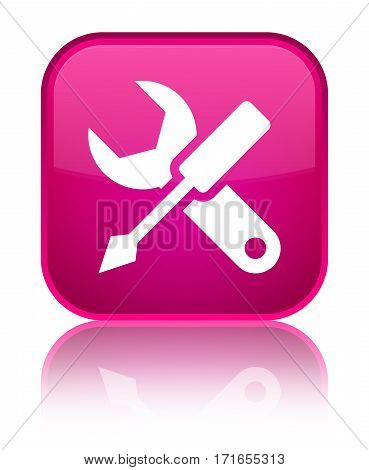 Settings Icon Shiny Pink Square Button