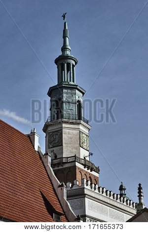 Renaissance town hall tower with clock in Poznan
