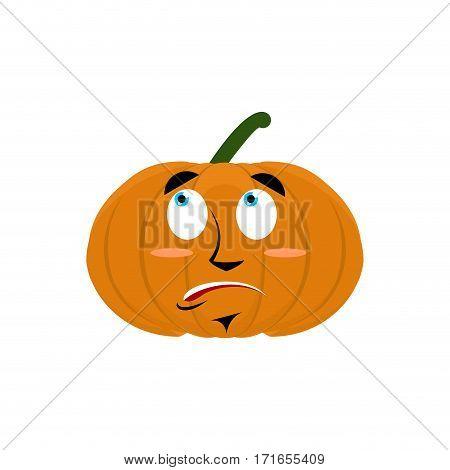 Pumpkin Surprised Emoji. Halloween Vegetable Astonished Emotion Isolated