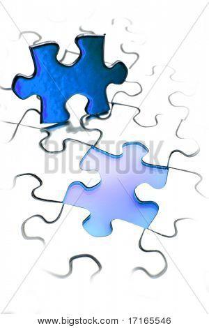 Jigsaw puzzle piece next to gap. Blue tone. Copy space.