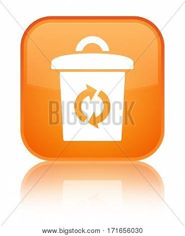 Trash Icon Shiny Orange Square Button