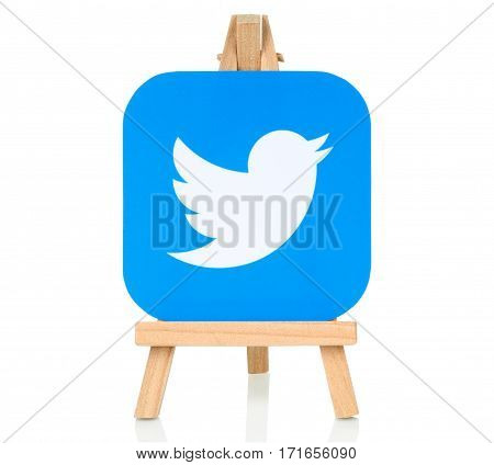 Kiev Ukraine - August 30 2016: Twitter logo printed on paper and placed on wooden easel. Twitter is a well-known social networking and news service