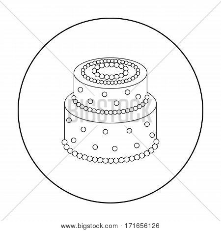 Green cake with yellow dots icon in outline design isolated on white background. Cakes symbol stock vector illustration.