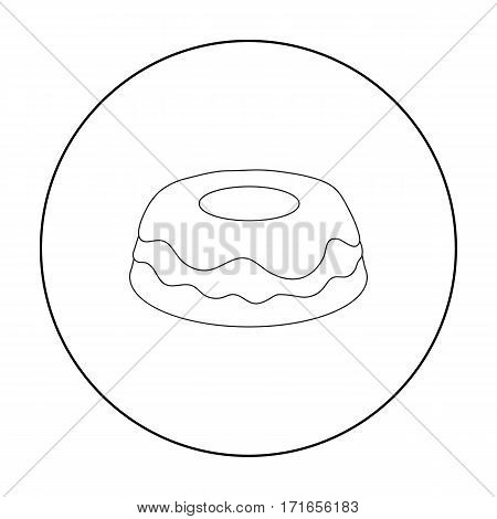 Cake icon in outline design isolated on white background. Cakes symbol stock vector illustration.