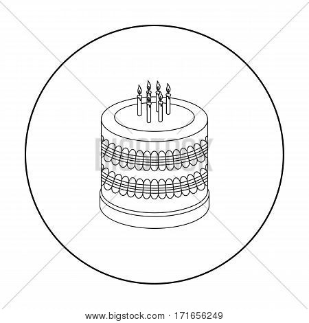 Bicolor cake icon in outline design isolated on white background. Cakes symbol stock vector illustration.