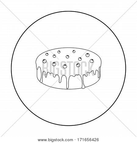 Bilberry cake icon in outline design isolated on white background. Cakes symbol stock vector illustration.