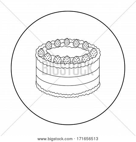 Strawberry cake icon in outline design isolated on white background. Cakes symbol stock vector illustration.