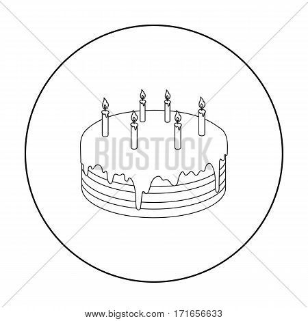 Chocolate cake icon in outline design isolated on white background. Cakes symbol stock vector illustration.