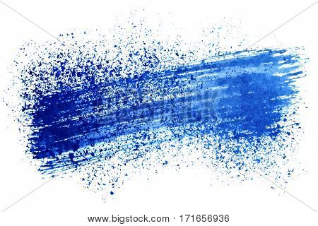 Blue ink strokes isolated on the white background - space for your own text