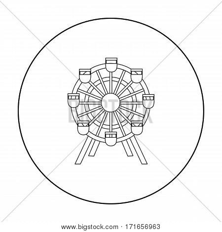 Ferris wheel icon outline. Single building icon from the big city infrastructure outline.