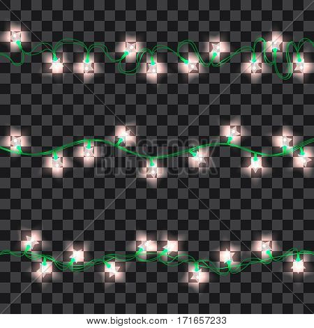 Set of white shining garland lights with holders isolated on transparent background. Christmas, New Year party decoration realistic design elements. Glowing lights for Xmas. Holiday greeting design.