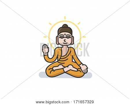 Vector illustration of Buddha sitting in the lotus position. Meditation simple icon. Cartoon character