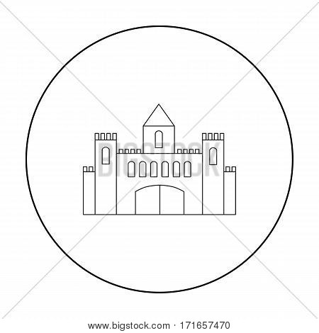 Castle icon outline. Single building icon from the big city infrastructure outline.