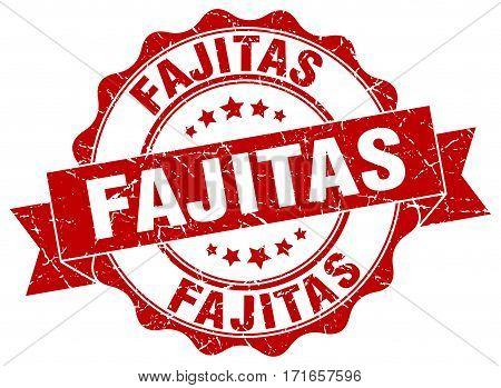 fajitas. stamp. sign. seal. round. retro. ribbon