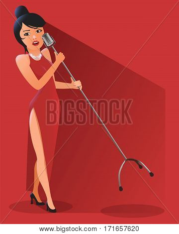 Singer Woman Illustration in red background. Flat