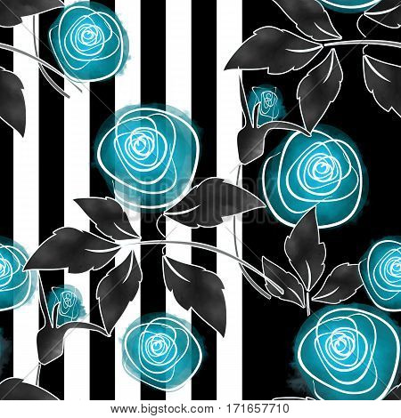 Seamless floral pattern on striped background , summer