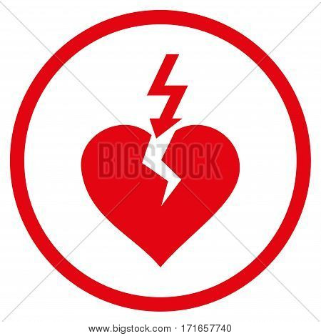 Break Heart rounded icon. Vector illustration style is flat iconic symbol inside circle red color white background.