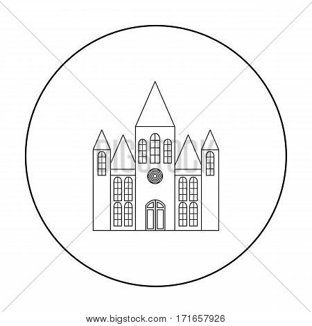 Church icon outline. Single building icon from the big city infrastructure outline.
