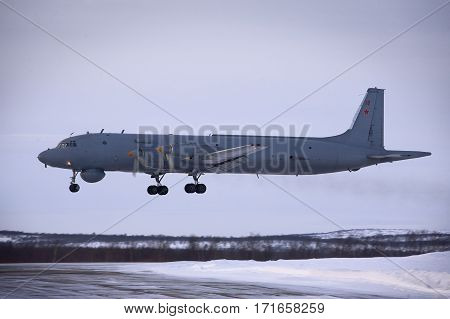 everomorsk, Murmansk Region, Russia - February 28, 2012: Routine busy day at the airbase. Flying of Il-38 (is a maritime patrol aircraft and anti-submarine warfare aircraft designed in the Soviet Union)