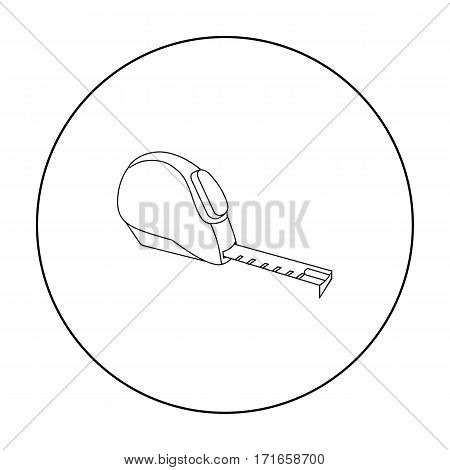 Tape measure icon in outline style isolated on white background. Build and repair symbol vector illustration.