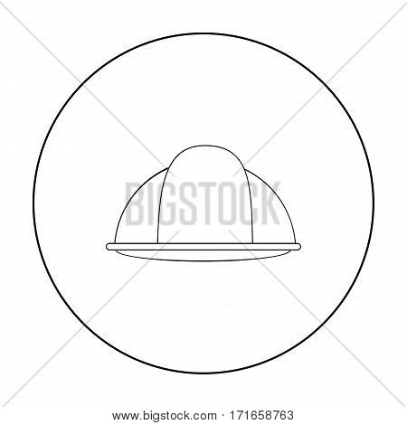 Construction helmet icon in outline style isolated on white background. Build and repair symbol vector illustration.