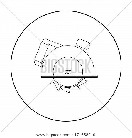 Circular saw icon in outline style isolated on white background. Build and repair symbol vector illustration.