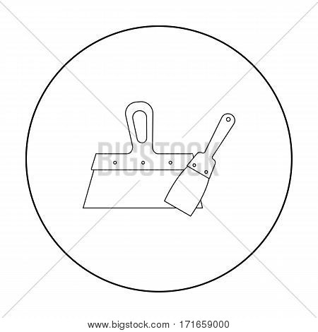 Putty knives icon in outline style isolated on white background. Build and repair symbol vector illustration.