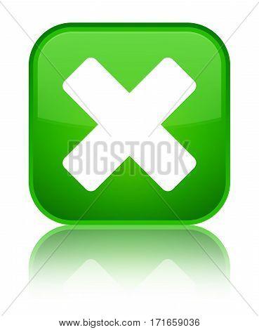 Cancel Icon Shiny Green Square Button