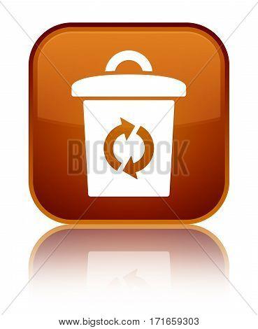 Trash Icon Shiny Brown Square Button