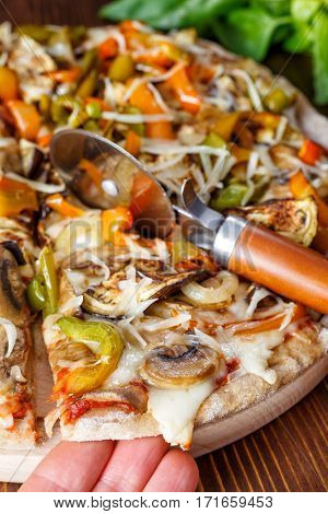 Super Healthy   Roasted Vegetable and Mushroom Whole Wheat Pizza