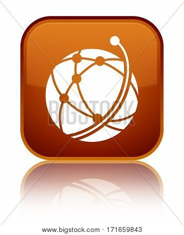 Global Network Icon Shiny Brown Square Button
