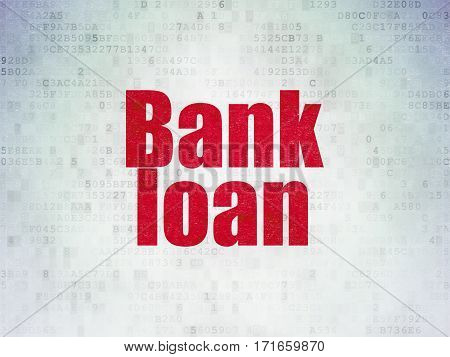 Banking concept: Painted red word Bank Loan on Digital Data Paper background
