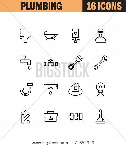 Plumbing flat icon set. Collection of high quality outline symbols for web design, mobile app. Plumbing vector thin line icons or logo.