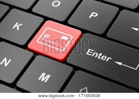 Banking concept: computer keyboard with Credit Card icon on enter button background, 3D rendering