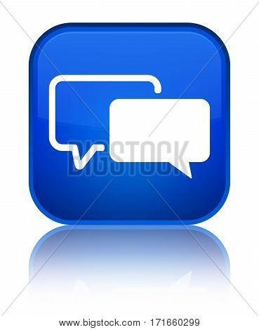 Testimonials Icon Shiny Blue Square Button