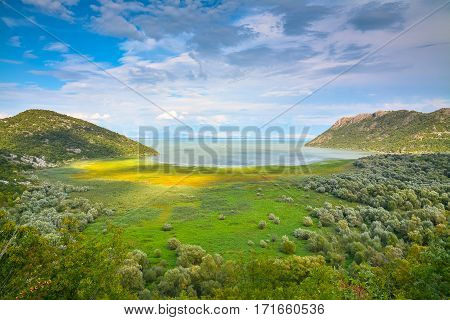 Scenic view of Lake among the hills.